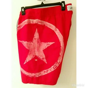 Mens Converse One Star Swimming trunks red sz M